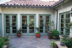 Spanish style home new construction courtyard