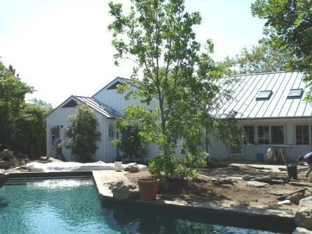 Standing seam metal roof and board and batten siding