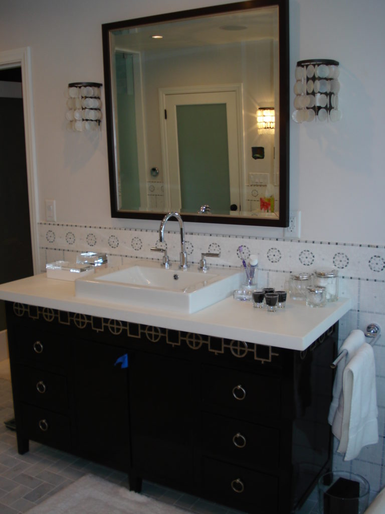 Remodeled master bath custom cabinets